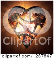 Clipart Of A 3d Gear Cog Heart In Orange Tones Royalty Free Illustration