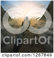 Clipart Of A 3d Man Walking Along A Mountain Ridge Path Over Clouds Royalty Free Illustration