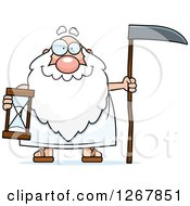 Happy Father Time Senior Man Holding A Scythe And Hourglass