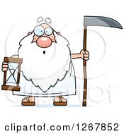 Surprised Father Time Senior Man Holding A Scythe And Hourglass