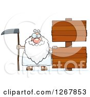 Happy Father Time Senior Man With Blank Wooden Signs