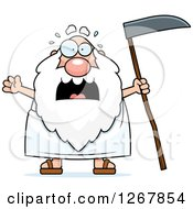 Clipart Of A Scared Screaming Father Time Senior Man Holding A Scythe Royalty Free Vector Illustration by Cory Thoman
