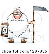 Sad Father Time Senior Man Holding An Hourglass And Scythe