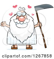 Clipart Of A Loving Father Time Senior Man Holding A Scythe Royalty Free Vector Illustration by Cory Thoman
