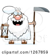 Talking Father Time Senior Man Holding An Hourglass And Scythe