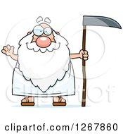 Clipart Of A Friendly Waving Father Time Senior Man Holding A Scythe Royalty Free Vector Illustration by Cory Thoman