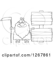 Black And White Happy Father Time Senior Man With Blank Wooden Signs