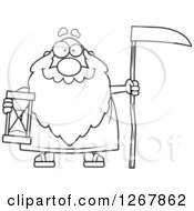 Black And White Happy Father Time Senior Man Holding A Scythe And Hourglass
