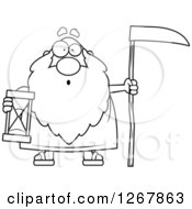 Black And White Surprised Father Time Senior Man Holding A Scythe And Hourglass