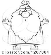 Clipart Of A Black And White Careless Shrugging Father Time Senior Man Royalty Free Vector Illustration
