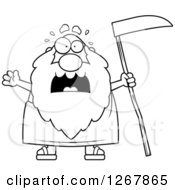 Clipart Of A Black And White Scared Screaming Father Time Senior Man Holding A Scythe Royalty Free Vector Illustration by Cory Thoman