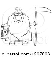 Clipart Of A Black And White Sad Father Time Senior Man Holding An Hourglass And Scythe Royalty Free Vector Illustration by Cory Thoman