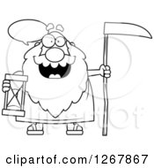 Black And White Talking Father Time Senior Man Holding An Hourglass And Scythe