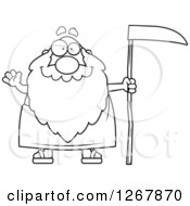 Clipart Of A Black And White Friendly Waving Father Time Senior Man Holding A Scythe Royalty Free Vector Illustration by Cory Thoman