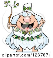 Clipart Of A Smart Chubby Mother Nature Or Hippie Woman With An Idea Royalty Free Vector Illustration by Cory Thoman