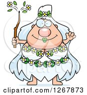 Clipart Of A Friendly Waving Chubby Mother Nature Or Hippie Woman Royalty Free Vector Illustration