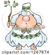 Clipart Of A Surprised Chubby Mother Nature Or Hippie Woman Royalty Free Vector Illustration