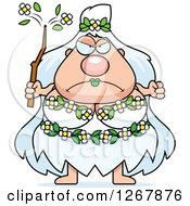 Clipart Of A Mad Chubby Mother Nature Or Hippie Woman Royalty Free Vector Illustration