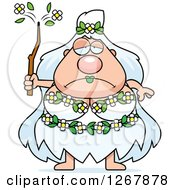 Clipart Of A Depressed Chubby Mother Nature Or Hippie Woman Royalty Free Vector Illustration