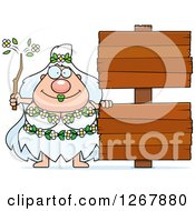Clipart Of A Happy Chubby Mother Nature Or Hippie Woman With Blank Wooden Signs Royalty Free Vector Illustration