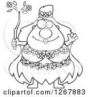 Clipart Of A Black And White Friendly Waving Chubby Mother Nature Or Hippie Woman Royalty Free Vector Illustration by Cory Thoman