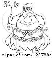 Clipart Of A Black And White Happy Chubby Mother Nature Or Hippie Woman Royalty Free Vector Illustration
