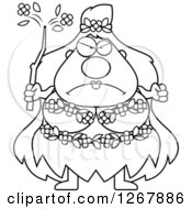 Clipart Of A Black And White Mad Chubby Mother Nature Or Hippie Woman Royalty Free Vector Illustration by Cory Thoman