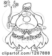 Clipart Of A Black And White Depressed Chubby Mother Nature Or Hippie Woman Royalty Free Vector Illustration
