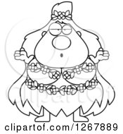 Clipart Of A Black And White Careless Shrugging Chubby Mother Nature Or Hippie Woman Royalty Free Vector Illustration