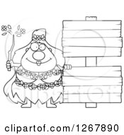 Clipart Of A Black And White Happy Chubby Mother Nature Or Hippie Woman With Blank Wooden Signs Royalty Free Vector Illustration