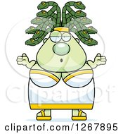 Clipart Of A Careless Shrugging Chubby Gorgon Medusa Woman With Snake Hair Royalty Free Vector Illustration