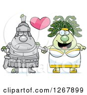 Clipart Of A Chubby Gorgon Medusa Woman Holding Hands With A Stone Knight Royalty Free Vector Illustration