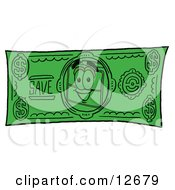 Clipart Picture Of A Suitcase Cartoon Character On A Dollar Bill