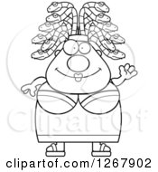 Clipart Of A Black And White Friendly Waving Chubby Gorgon Medusa Woman With Snake Hair Royalty Free Vector Illustration by Cory Thoman