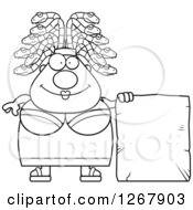 Clipart Of A Black And White Chubby Gorgon Medusa Woman With Snake Hair And Blank Stone Sign Royalty Free Vector Illustration by Cory Thoman