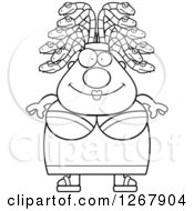 Clipart Of A Black And White Happy Chubby Gorgon Medusa Woman With Snake Hair Royalty Free Vector Illustration by Cory Thoman