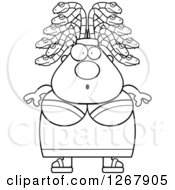 Clipart Of A Black And White Surprised Chubby Gorgon Medusa Woman With Snake Hair Royalty Free Vector Illustration