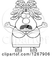 Clipart Of A Black And White Scared Screaming Chubby Gorgon Medusa Woman With Snake Hair Royalty Free Vector Illustration by Cory Thoman