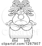 Clipart Of A Black And White Depressed Chubby Gorgon Medusa Woman With Snake Hair Royalty Free Vector Illustration by Cory Thoman
