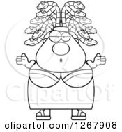 Clipart Of A Black And White Careless Shrugging Chubby Gorgon Medusa Woman With Snake Hair Royalty Free Vector Illustration by Cory Thoman