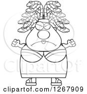 Clipart Of A Black And White Mad Chubby Gorgon Medusa Woman With Snake Hair Royalty Free Vector Illustration by Cory Thoman