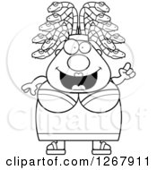 Clipart Of A Black And White Smart Chubby Gorgon Medusa Woman With Snake Hair And An Idea Royalty Free Vector Illustration