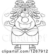 Clipart Of A Black And White Loving Chubby Gorgon Medusa Woman With Snake Hair Royalty Free Vector Illustration