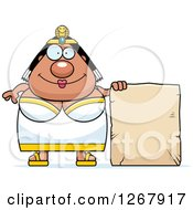 Clipart Of A Happy Chubby Cleopatra Egyptian Pharaoh Woman With A Stone Sign Royalty Free Vector Illustration