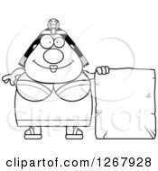 Clipart Of A Black And White Happy Chubby Cleopatra Egyptian Pharaoh Woman With A Stone Sign Royalty Free Vector Illustration