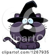 Clipart Of A Happy Purple Halloween Witch Cat Royalty Free Vector Illustration
