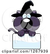 Clipart Of A Happy Purple Halloween Witch Cat Over A Blank Sign Royalty Free Vector Illustration by Cory Thoman