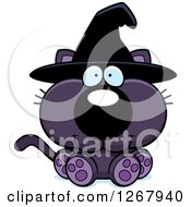 Clipart Of A Happy Purple Halloween Witch Cat Sitting Royalty Free Vector Illustration by Cory Thoman
