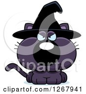 Clipart Of A Sly Purple Halloween Witch Cat Royalty Free Vector Illustration