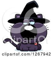 Clipart Of A Drunk Purple Halloween Witch Cat Royalty Free Vector Illustration